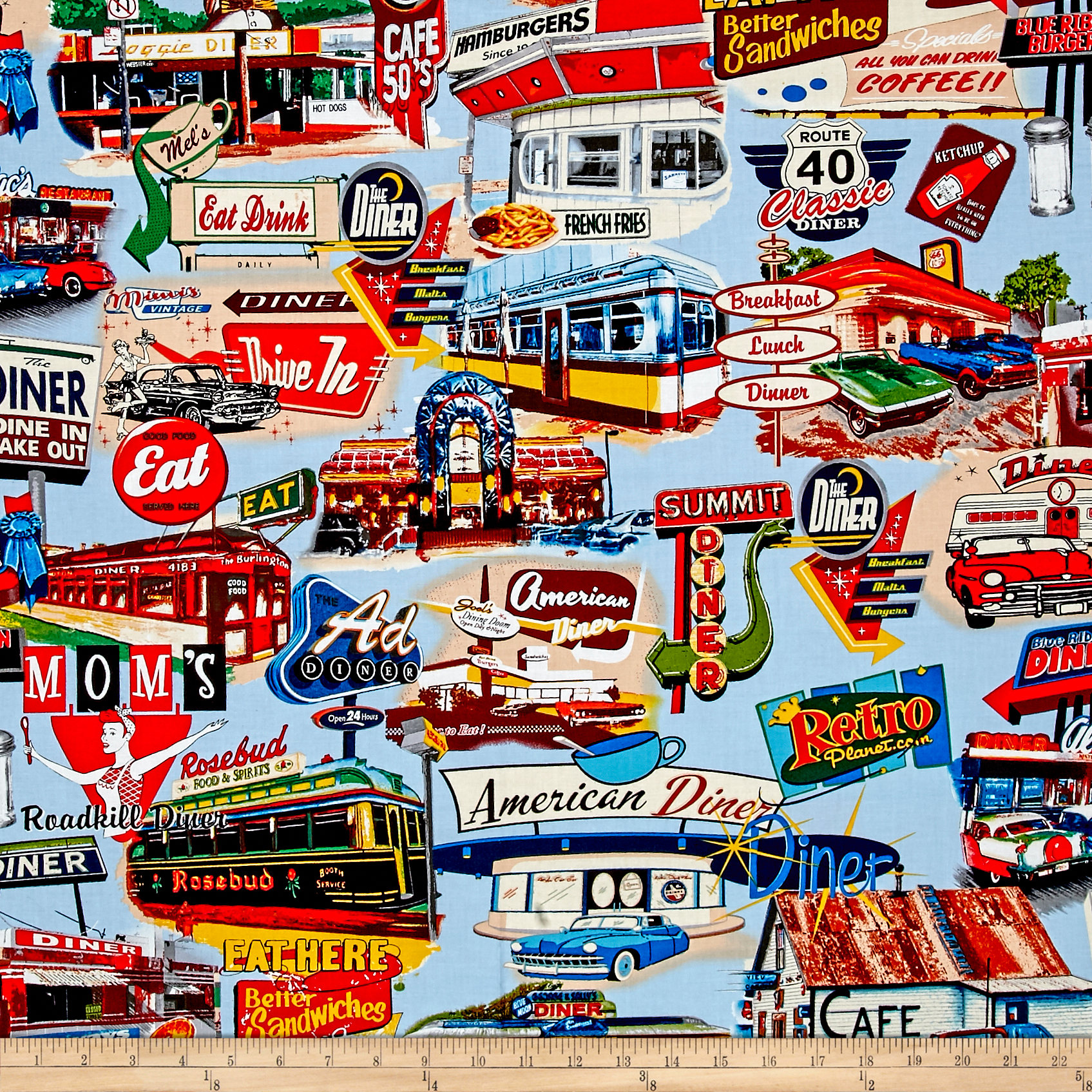 Open 24 Hours Diners & Drive-Ins Allover Toss Fabric by Exclusively Quilters in USA
