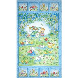 Friends Cuddle Flannel Panel Blue
