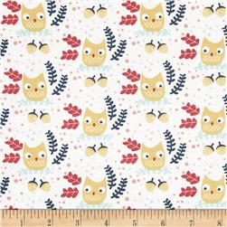 Dear Stella Hilltop Owls White Fabric