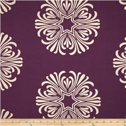 Duralee Floating Flowers Slub Purple