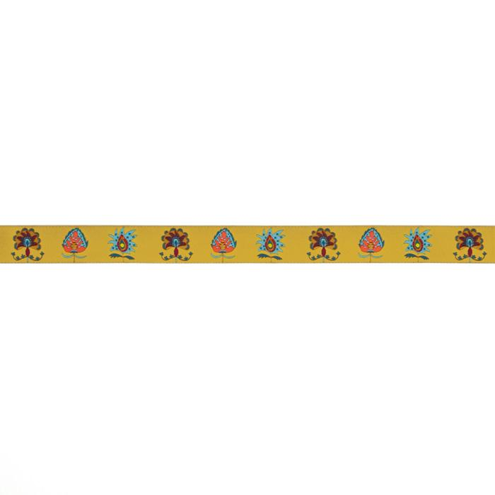 "7/8"" Sue Spargo Narrow Imperial Blooms On Gold Ribbon Gold"