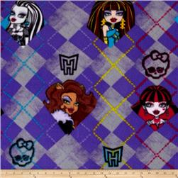 Fleece Monster High Argyle Purple