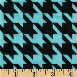 Minky Houndstooth Turquoise/Black Fabric
