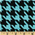 Minky Houndstooth Turquoise/Black
