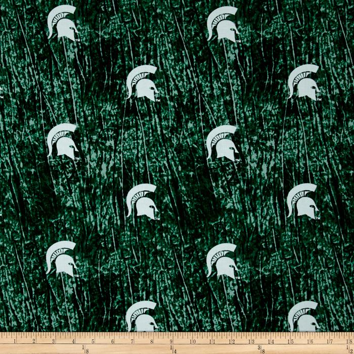 Collegiate Cotton Broadcloth Michigan State University Tie Dye Print Green