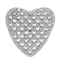 "3 1/8"" x 3"" Iron On Rhinestone Heart Applique"
