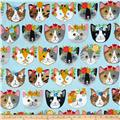 Kaufman Whiskers & Tails Dressy Kitty Blue