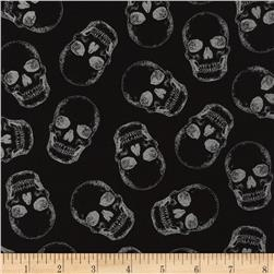 Timeless Treasures Metallic Skulls Black