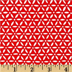 Moda Ever After Flower Lattice Romantic Red