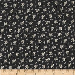 Kaufman Sevenberry Petite Garden Scattered Flowers Black