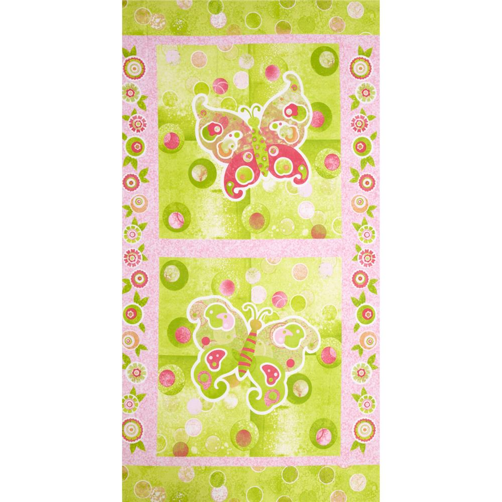 The Garden Club Butterfly 24'' Panel Pink/Green Fabric
