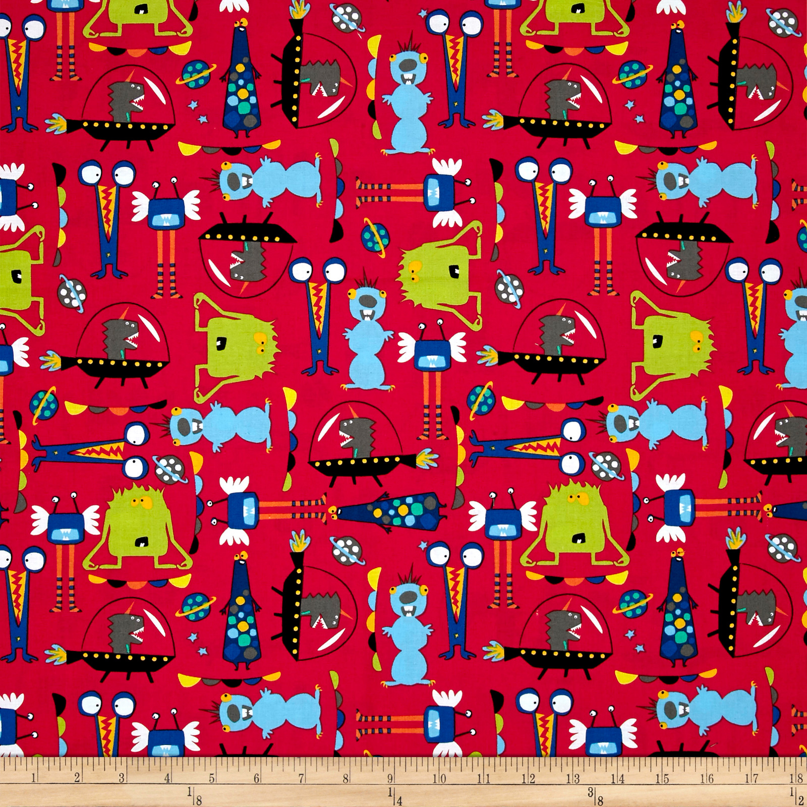 Aliens_In_Space_Aliens_Red_Fabric