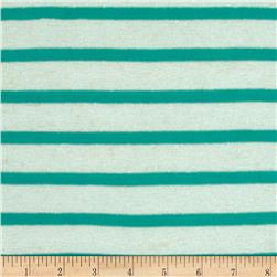 Designer Cotton Tissue Yarn Dyed Jersey Knit Stripes Mint/Green