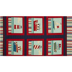 Ships Ahoy 24'' Panel Navy/Red Fabric