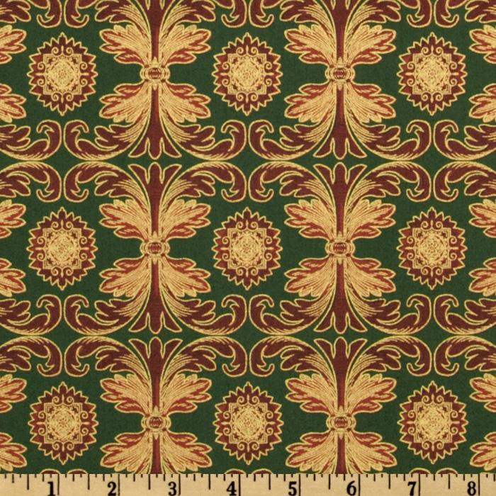 Winter Memories Damask Stripe Green