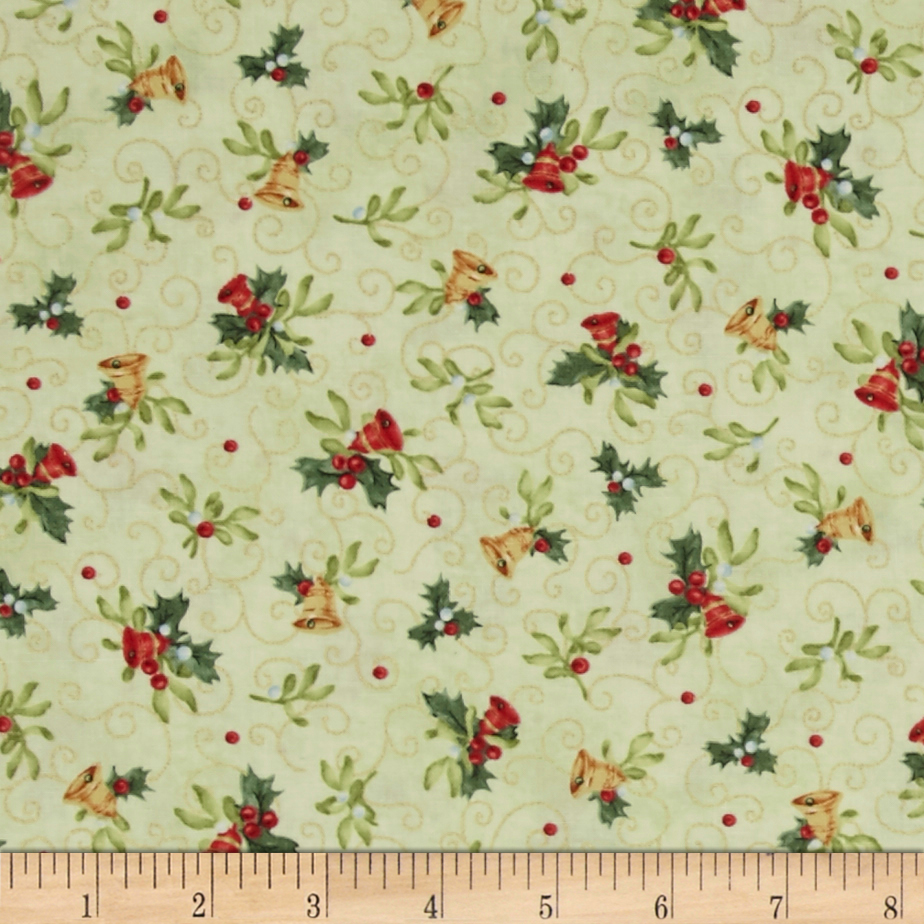 Christmas Bells Metallics Tossed Bells Light Green Fabric by Red Rooster in USA