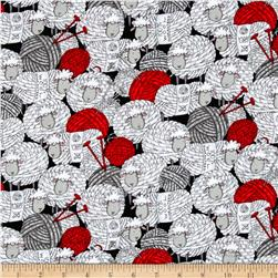 Timeless Treasures Flannel Knitting Sheep Stacked Sheep And Yarn Black