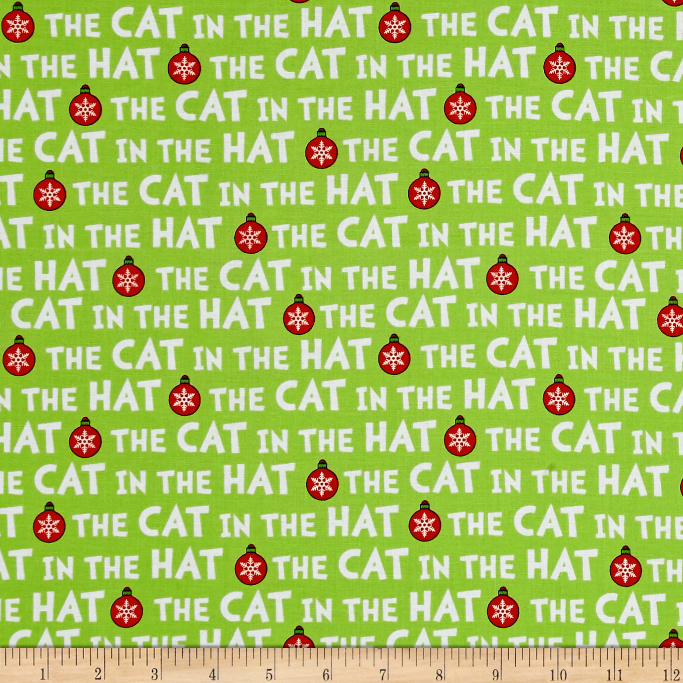 Kaufman The Cat In The Hat Christmas Words Green Fabric