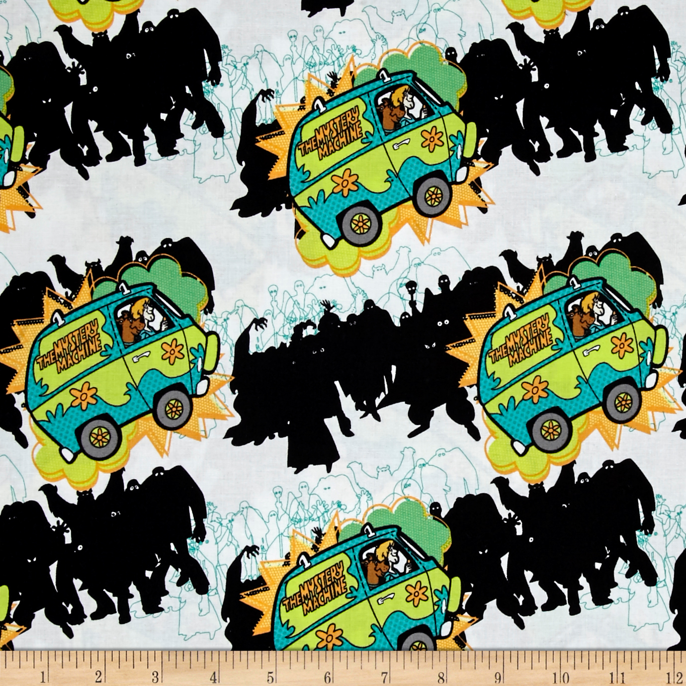 Scooby Doo The Mystery Machine White Fabric by Eugene in USA