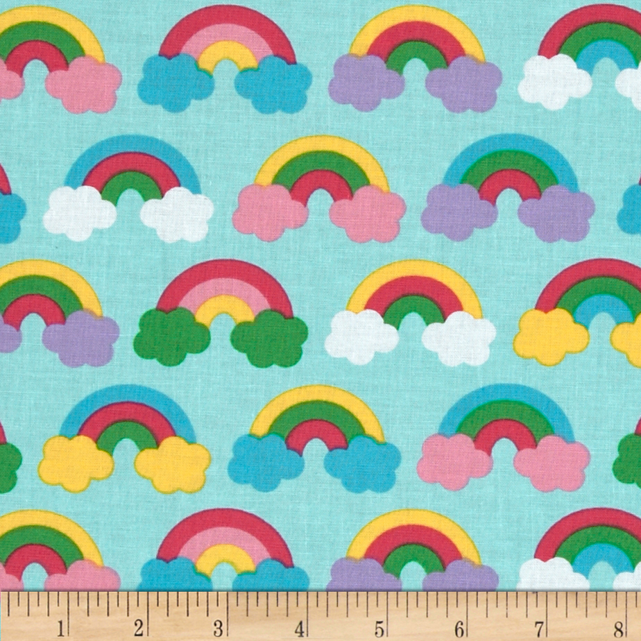 Wonder Clouds Aqua Sweet Fabric