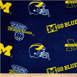Collegiate Fleece University of Michigan Navy/Yellow Fabric