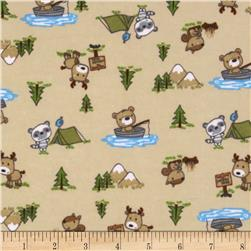Flannel Camping Forest Animals Tan
