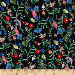 Liberty of London Kensington Crepe de Chine Temptation Meadow Midnight Blue/Pink/Green