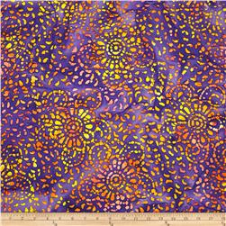Indian Batik Floral Purple/Yellow/Peach