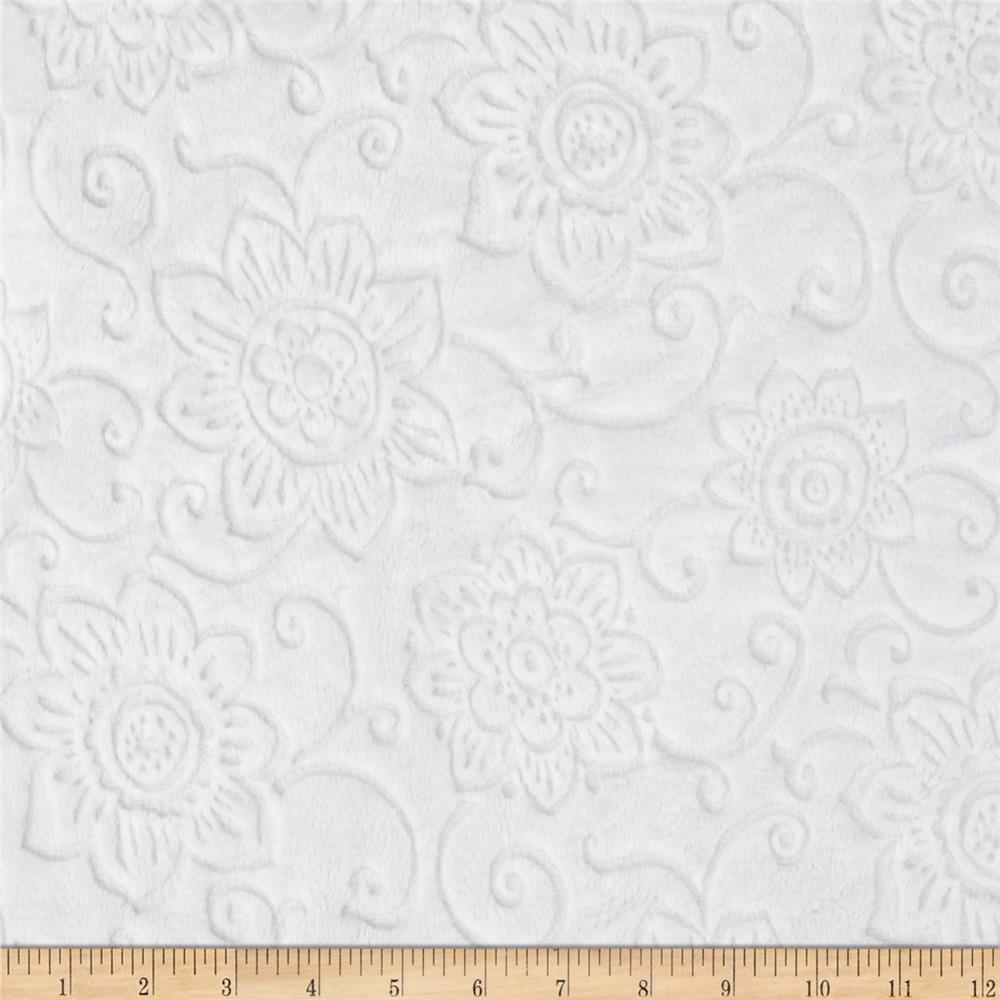 Minky Cuddle Spice Market Embossed Flower Snow