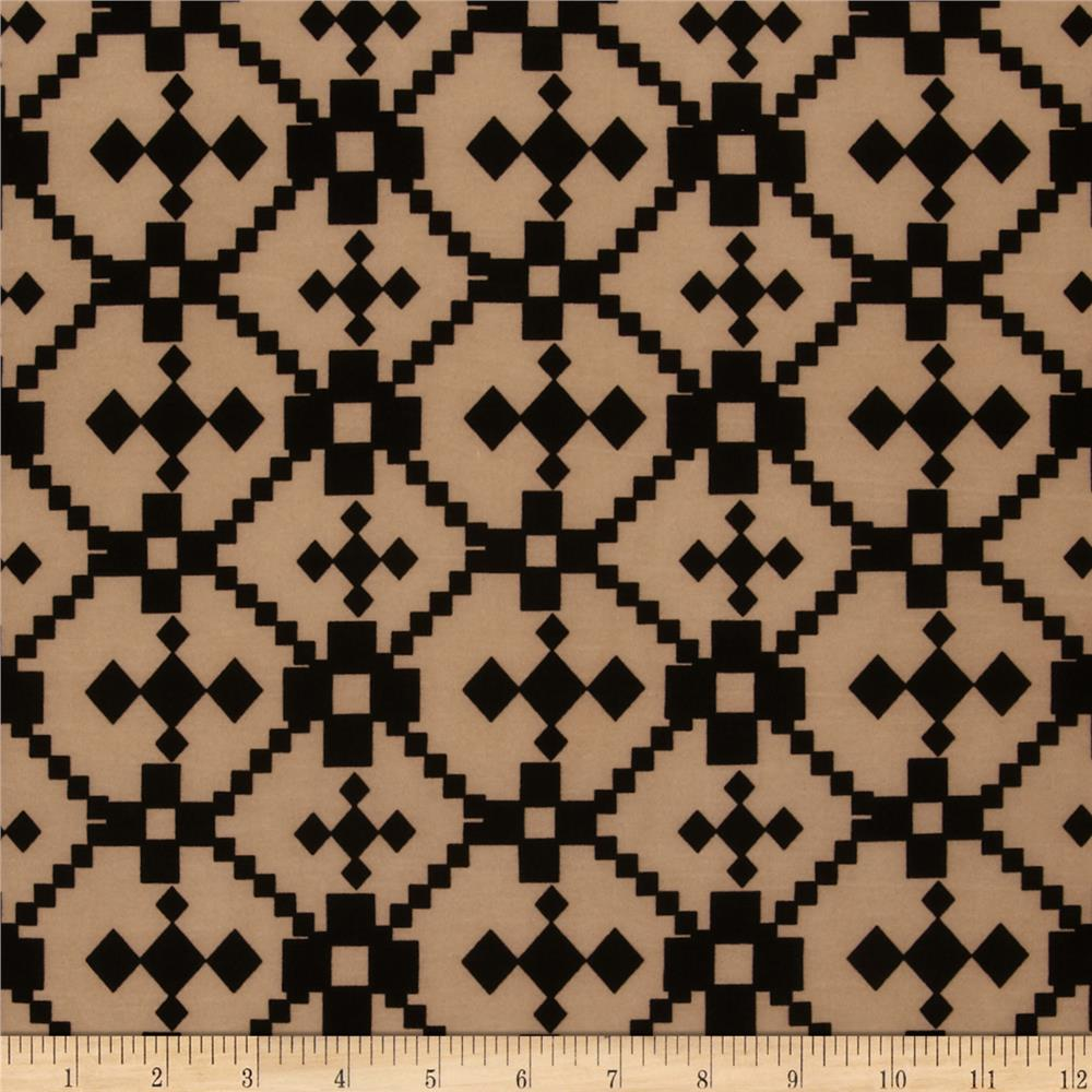 Stretch ITY Jersey Knit Aztec Black/Brown