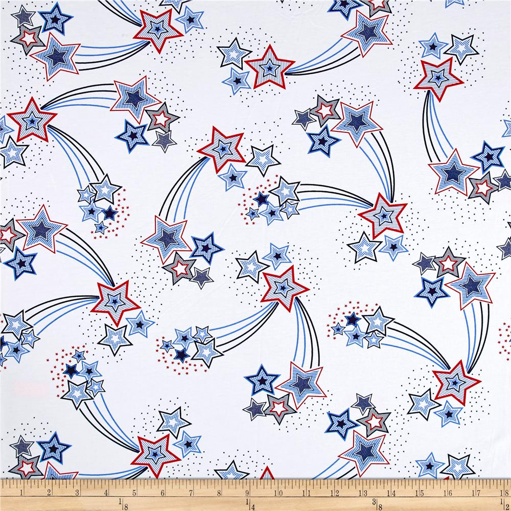 Cotton Jersey Knit Shooting Stars White/Blue/Pink Fabric