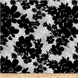 High Definition Large Floral Black/White