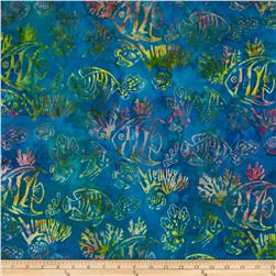 Artisan Batiks: Totally Tropical 2 Fish Caribbean Aqua