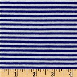 Designer Jersey Knit Stripe Mini Stripe Royal/White
