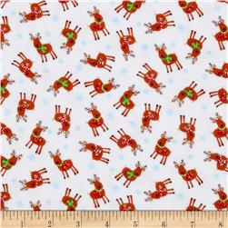 Timeless Treasures Holiday Flannel Mini Reindeer White Fabric