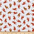 Timeless Treasures Christmas Flannels Mini Reindeer White