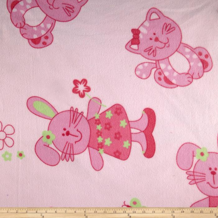 Wintry Fleece Girly Animals Pink