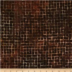 Artisan Batiks Elementals Boxed In Plaid Brown Fabric