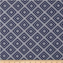 Metro Living Box Stripe Navy Fabric