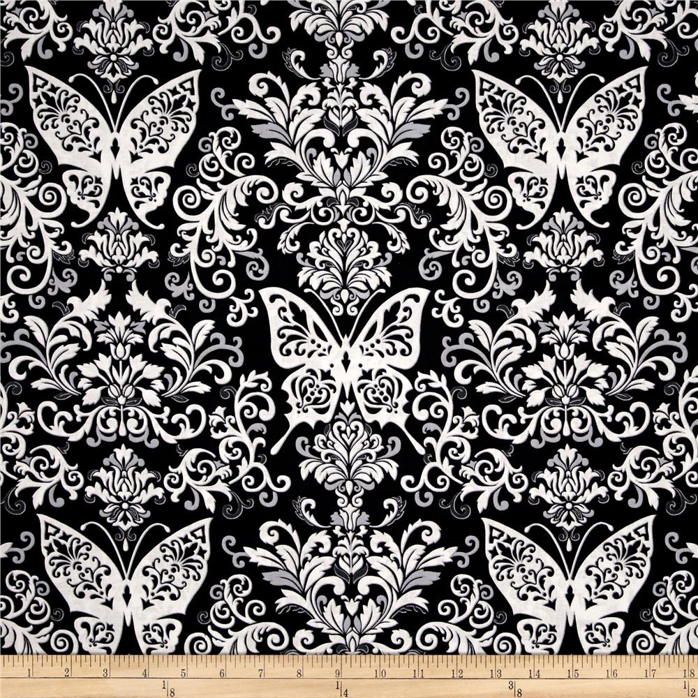 Black, White & Currant 6 Butterfly Damask Black