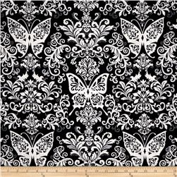 Black White & Currant 6 Butterfly Damask Black