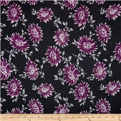 Sheer Polyester Floral Navy/Purple