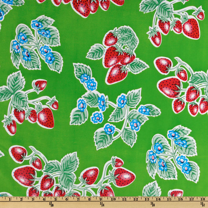 Old Fashioned Aprons & Patterns Oilcloth Strawberries Green Fabric By The Yard $6.05 AT vintagedancer.com