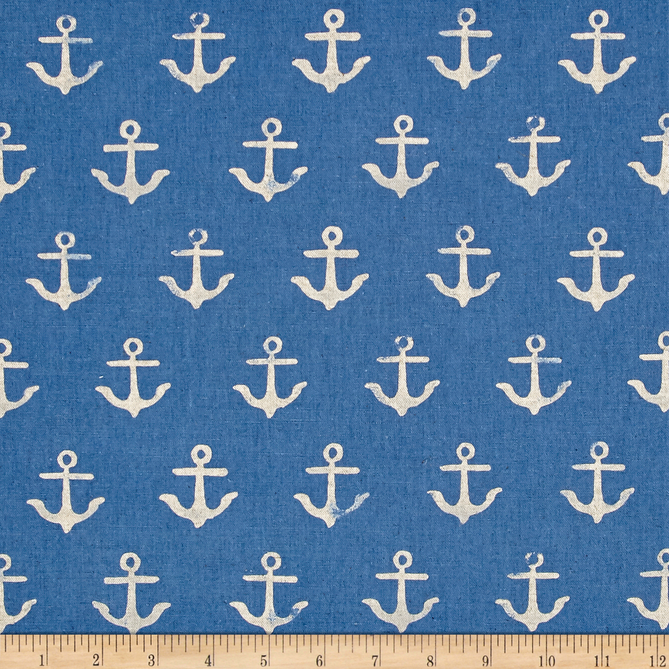Image of Cotton + Steel S.S. Bluebird Canvas Anchor Blue Fabric