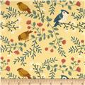 Birch Organic Acorn Trail Canvas Birds and Branches Cream