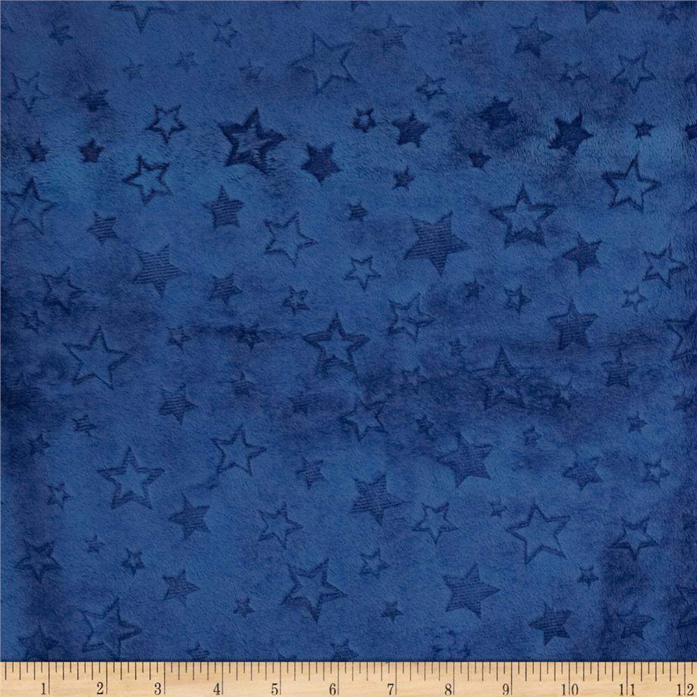 Shannon Minky Embossed Star Cuddle Midnight