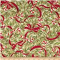 Season's Greetings Candy Cane Allover White