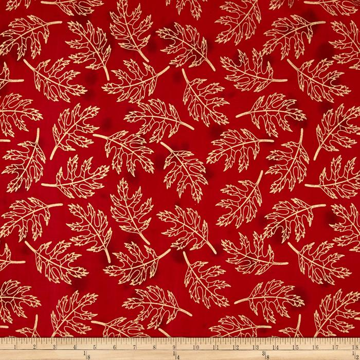 Indian Batik Harvest Large Leaf Metallic Red