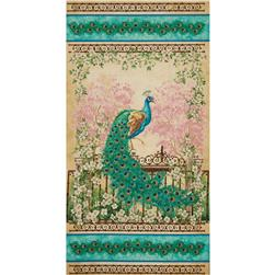 Timeless Treasures Jewel of the Garden 24 In. Peacock Panel