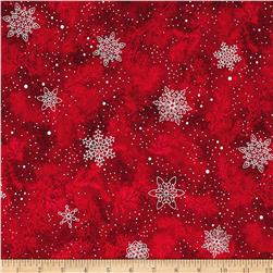 Kaufman Holiday Flourish Metallic Branches Scarlet